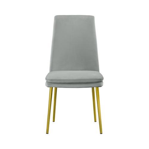 Accentrics Home - Modern Upholstered Dining Chair in Grey Velvet (2pc)