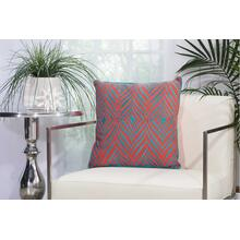 "Outdoor Pillows L1521 Coral/turquoise 18"" X 18"" Throw Pillow"