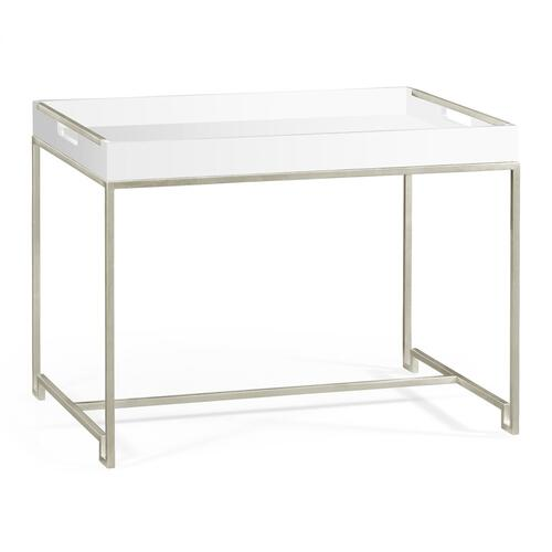 Silver iron tray table in Biancaneve top