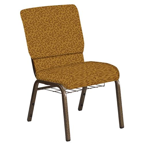 Flash Furniture - 18.5''W Church Chair in Jasmine Mojave Gold Fabric with Book Rack - Gold Vein Frame
