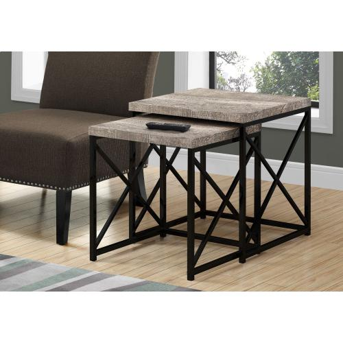 Gallery - NESTING TABLE - 2PCS SET / TAUPE RECLAIMED WOOD / BLACK