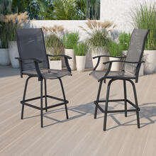 Outdoor Stool - 30 inch Patio Bar Stool \/ Garden Chair, Gray (Set of 2)