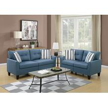 Teresa 2pc Loveseat & Sofa Set, Blue-glossy