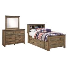 Twin Bookcase Bed With 2 Storage Drawers With Mirrored Dresser