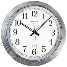 "16"" Galvanized Metal Silver Wall Clock"