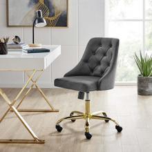 Distinct Tufted Swivel Performance Velvet Office Chair in Gold Gray