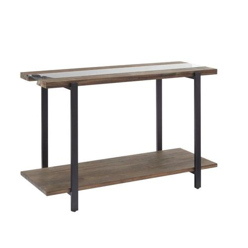 Standard Furniture - Dumont Sofa Table, Brown Mahogany Finish with Black Metal Base