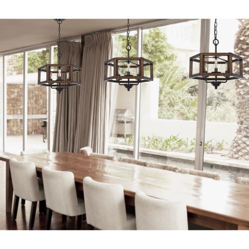 60W x 3 Renton hexagon rubber wood / metal chandelier
