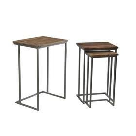 Nesting Side Tables - Patina Wood/black Metal Finish