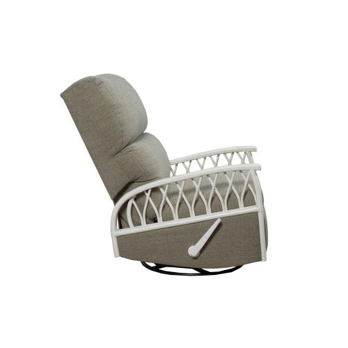 Swivel Recliner Glider, Recliner Arms Available in Cottage White Finish Only.