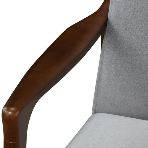 Nicholas KD Accent Arm Chair Dark Walnut Frame, Studio Gray