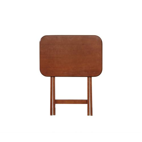 5-piece Tray Table and Stand, Dark Cherry
