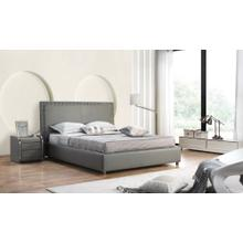 Modrest 2101 Modern Grey Bonded Leather Bed