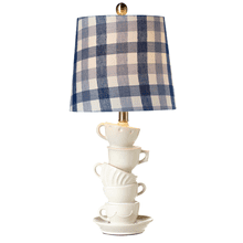 Stacked Teacup Table Lamp with Blue Check Shade. 60W Max.