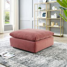 Commix Down Filled Overstuffed Performance Velvet Ottoman in Dusty Rose