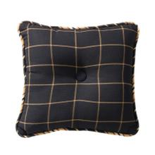 Ashbury Tufted Throw Pillow, Black & Tan Windowpane, 18x18