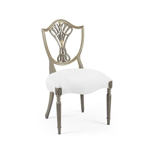 Sheraton Buckingham Grey & Gilded Dining Side Chair with Shield Back, Upholstered in COM