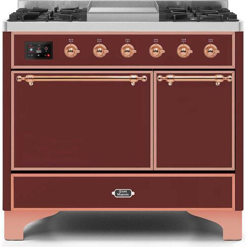 Product Image - Majestic II 40 Inch Dual Fuel Natural Gas Freestanding Range in Burgundy with Copper Trim