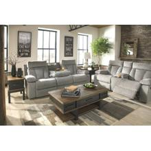 Mitchiner REC Sofa w/Drop Down Table & Console Loveseat Fog