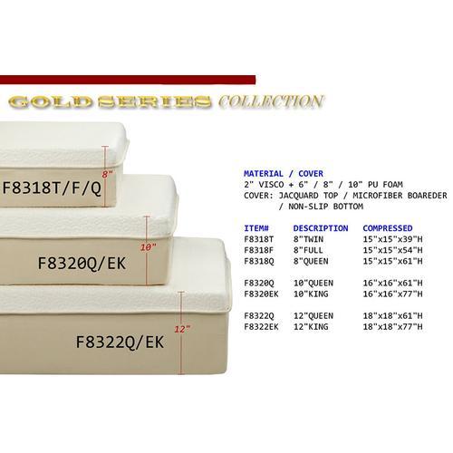 Updated Furniture - Gold Series Foam Mattress, Queen, 8-thick