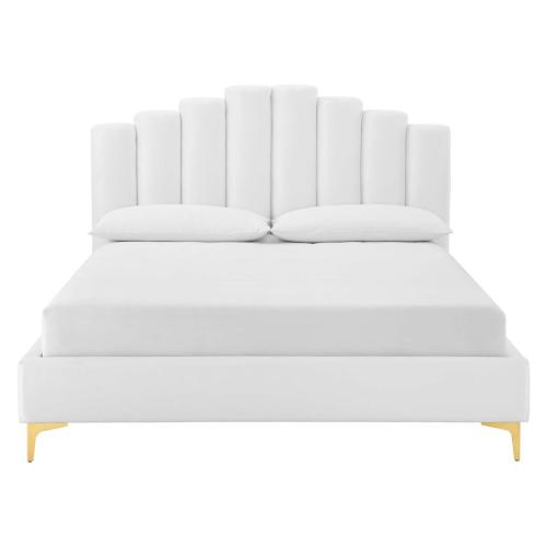 Olivia Queen Performance Velvet Platform Bed in White