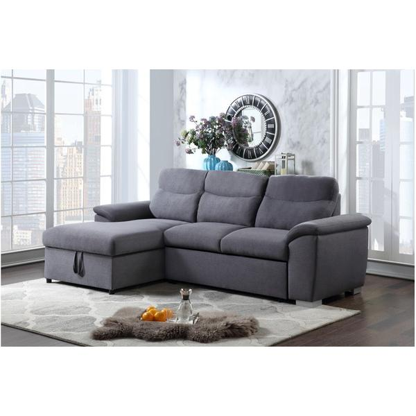 Felix Charcoal 2pc Sleeper Sectional w/ Storage, SWU9404