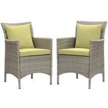 Conduit Outdoor Patio Wicker Rattan Dining Armchair Set of 2 in Light Gray Peridot