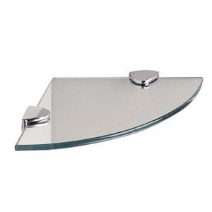 "Classic Glass Corner Shelf, Curved, 8"""