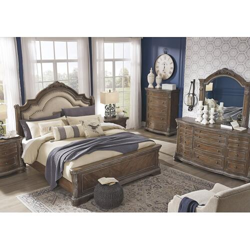 California King Upholstered Sleigh Bed With Mirrored Dresser and Chest