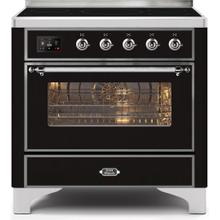 Majestic II 36 Inch Electric Freestanding Range in Glossy Black with Chrome Trim