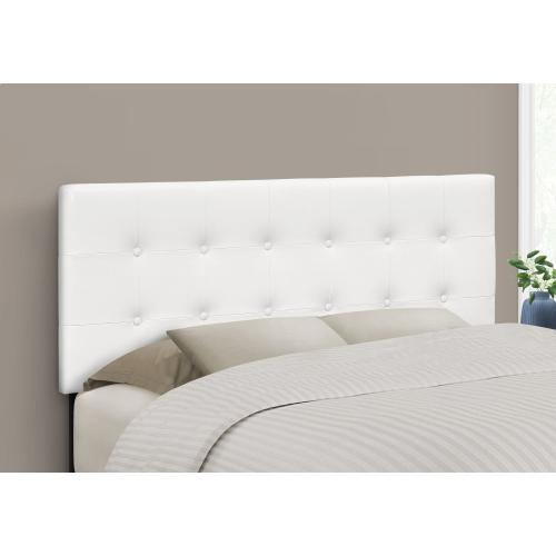 BED - FULL SIZE / WHITE LEATHER-LOOK HEADBOARD ONLY