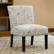 Botticelli English Letter Print Fabric Armless Contemporary Dining Chair