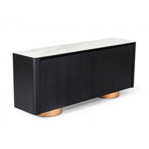 Modrest Peak - Modern White Ceramic/Black Oak/Rosegold Buffet