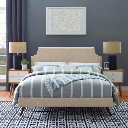 Modway - Corene King Fabric Platform Bed with Round Splayed Legs in Beige