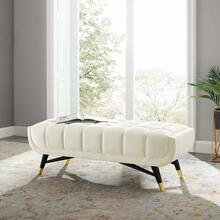 "Adept 47.5"" Performance Velvet Bench in Ivory"