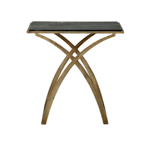 Iron Side Table with Black Marble Top