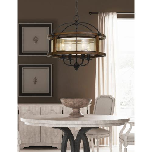 60W X 4 Rubber Wood Round Chandelier With Organza Shade