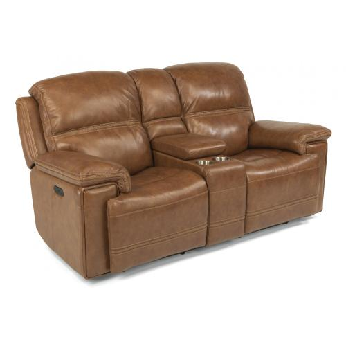 Fenwick Power Reclining Loveseat with Console & Power Headrests