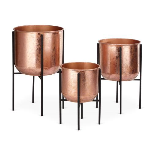 Marcel Copper Foil Planters with Foldable Stands - Set of 3