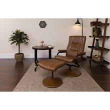 Contemporary Multi-Position Recliner and Ottoman with Wrapped Base in Palimino LeatherSoft