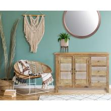 See Details - Cambridge Chandler 2-Door, 3-Drawer Storage Chest Console Table with Carved Accents, 43-In. W x 16-In. D x 29.5-In. H, 988011-WHT