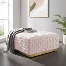 Florence Square Performance Velvet Ottoman in Pink