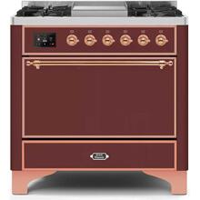 Majestic II 36 Inch Dual Fuel Natural Gas Freestanding Range in Burgundy with Copper Trim