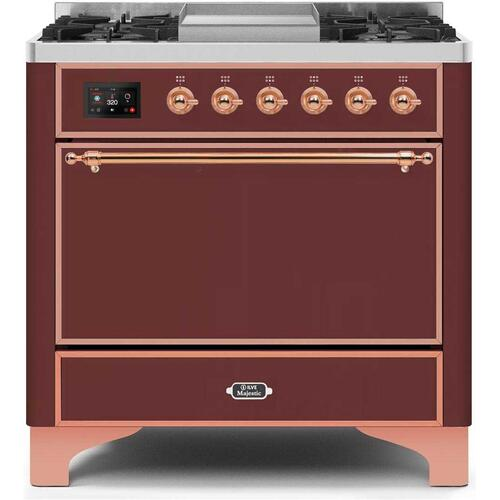 Product Image - Majestic II 36 Inch Dual Fuel Natural Gas Freestanding Range in Burgundy with Copper Trim