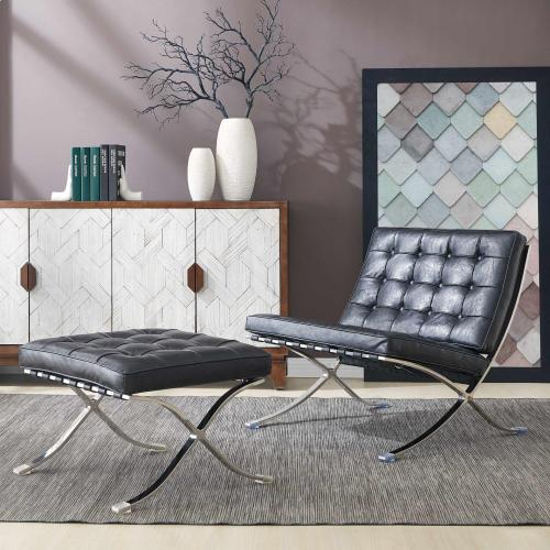 Barca PU Accent Chair Stainless Steel Frame, Distressed Black