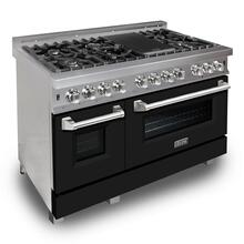 """View Product - ZLINE 48"""" DuraSnow® Stainless Steel 6.0 cu.ft. 7 Gas Burner/Electric Oven Range with Color Door Options (RAS-SN-48) [Color: Black Matte]"""