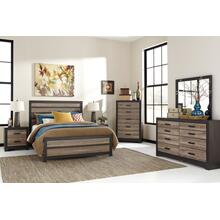 Bed With Mirrored Dresser and Nightstand