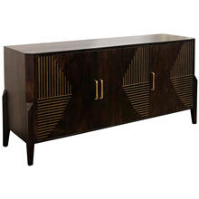 DARK STAIN SOLID MANGO  31ht X 63w X 18d  3 Door Sideboard with Brass Channel Inlay Finished Inter