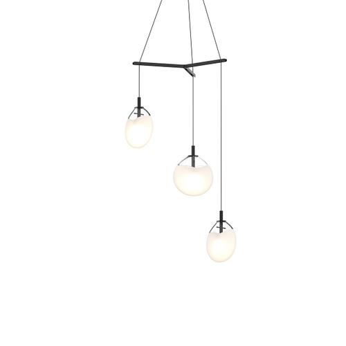 Sonneman - A Way of Light - Cantina LED Pendant [Size=Small 3-Light Tri-Spreader, Color/Finish=Satin Black w/Poured White Glass]