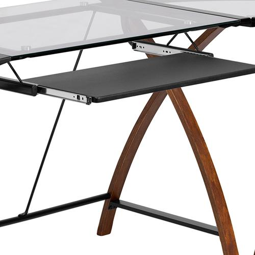 Flash Furniture - Glass L-Shape Desk with Pull-Out Keyboard Tray